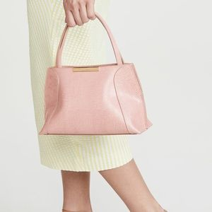 BY FAR CHARLOTTE PINK LIZARD EMBOSSED LEATHER BAG